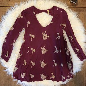 Free People Embroidered Tunic Floral Small XS